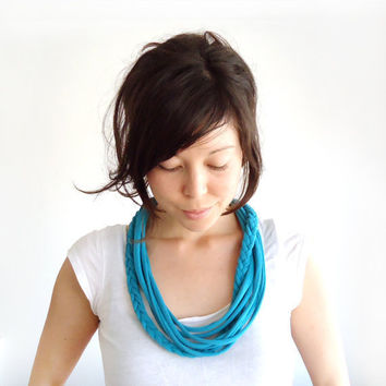 Tiered and Braided Jersey Necklace Teal by ChiChiDee on Etsy