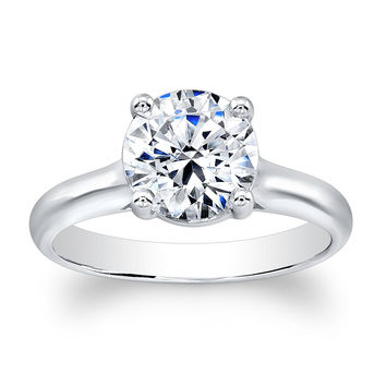 Ladies 14k classic engagement ring with natural 2 ct Round Brilliant White Sapphire center gemstone