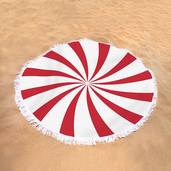 Round Beach Towel Red White Swirl Circus Sunburst Large Beach Blanket Vintage Swirl Towel