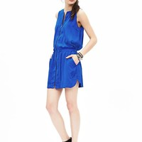 Banana Republic Womens Shirred Zip Dress