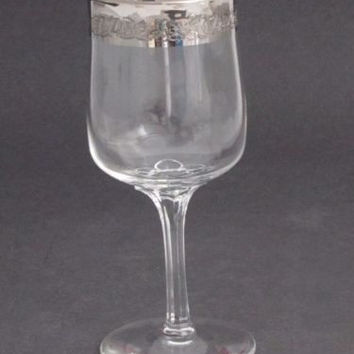 """Lenox etched  wine glass .7"""" platinum band Crystal  Made in USA Mt Pleasant PA"""