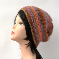 multicolored hat knit beanie hat Knit Chunky Hat Knit Tassel Hat Knit Beanie Knit Winter Beanie Winter Hat