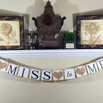 From Miss to Mrs Banner, Bridal Shower Decorations, Baccalaureate Party, Hen's Party, Engagement Gift