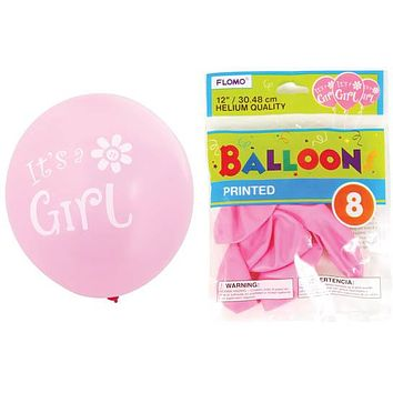 """12 in. """"""""It's a Girl"""""""" Printed Balloons Case Pack 36"""