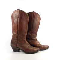 Brown Cowboy Boots Vintage 1980s Acme Leather Distressed Women's size 7 1/2