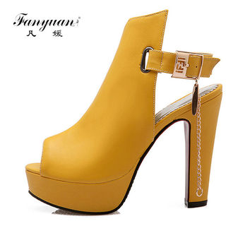 2016 New Arrivals Fashion Thick High Heels Sandal For Women Sexy Open Toe Summer Dress Shoes For Female Hot Sale