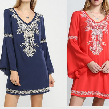 Eliza Bella for Flying Tomato Boho Bell Sleeve Dress SML