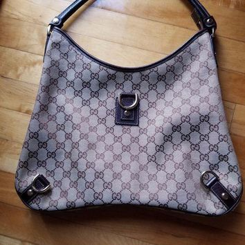 DCCKV2S Gucci Canvas & Leather 'GG' Monogram 'Abby' Hobo Handbag with Dust bag
