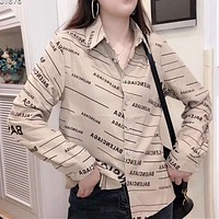 Woman Leisure Fashion Letter Printing Wild Long Sleeve Shirt Leisure Tops