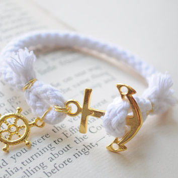 SALE- Anchor Bracelet No. 59- White cord and gold anchor clasp.  Wheel charm