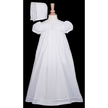 Floral Hand Embroidery & Open Work Lace Cotton Christening Gown Baby Girls 0-12M