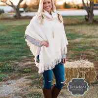Cream Turtleneck Poncho