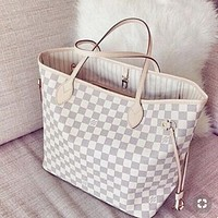 """Louis Vuitton"" Classic Popular Women Shopping Leather Handbag Tote Cosmetic Bag Two Piece Set I/A"