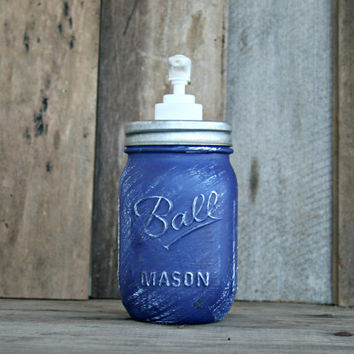 Mason Jar Soap Dispenser - Distressed, Shabby Chic, Country, Cottage Home Decor, Ultra Deep Blue