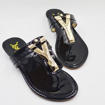 YSL New fashion Woman sandals flip-flops slippers shoes Black