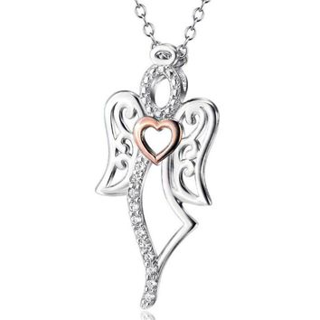 Drop Shipping Love Angel Heart Wing 925 Sterling Silver Pendant Necklace 18inch Women Girl Lady Gift YFN143