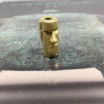 EDC Pocket Tools Personalized Creative Brass Paracord Knife Beads Easter Island Stone Statue Watchman Knife Fall Copper Pendant