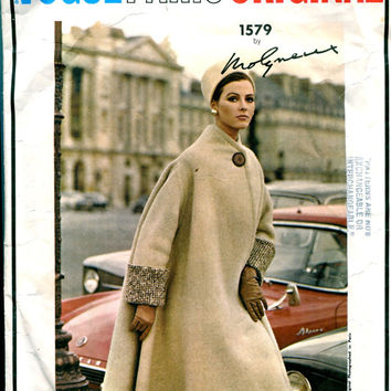 60s Mod Reversible COAT 2-Piece DRESS Skirt Top PATTERN Molyneux Designer Vogue Paris Original 1579 Bust 34 Women's Vintage Sewing Patterns