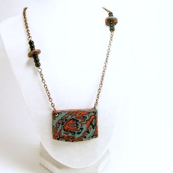 Abstract Art Pendant Necklace, Cruise Jewelry, Unique Affordable Handmade Polymer Clay Jewelry