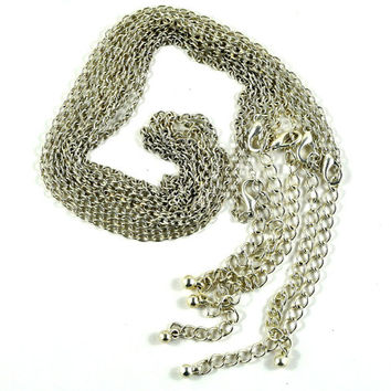 Link Chain Necklace for Pendants with Lobster Clasp and Extender Chain - Silver Plated -Jewellery Supplies - 44cm extends to 51.5cm