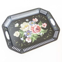 Toleware Hand Painted Metal Wall Decor Serving Tray