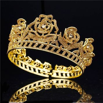 Gold Silver Baroque Bridal Crown Rose Flower Tiaras Rhinestone Cubic Zircon C`osplay Wedding