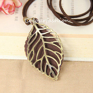 Skeleton Leaf, Leaf Pendant, Filigree Leaf Jewelry, Brass Leaf Necklace, Bronze Lariat Necklace, Woodland Jewelry, Brown Leather
