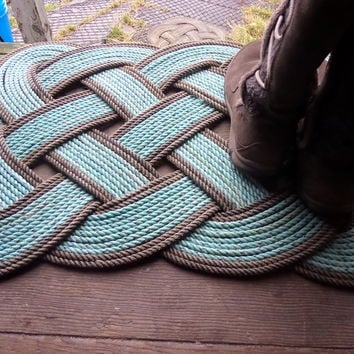 Knotted Rope Rug Green & Natural Nautical Doormat