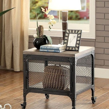 Furniture of america CM4373E Ursula distressed gray finish wood industrial end table