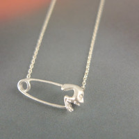 safety pin with skull necklace in silver by LemonTreeLand on Etsy