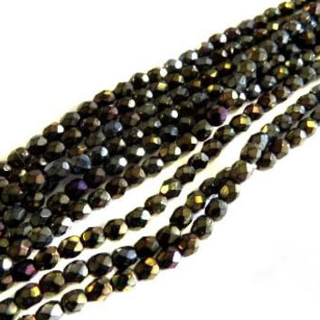 4mm Czech Black Green Iris Fire Polished Glass Beads