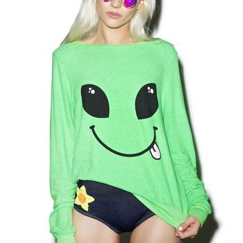 Alien Sticking Out Tongue Funny Long Sleeves - Ladies Sweatshirt