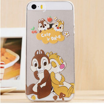 Cute Chip & Dale Cartoon TPU Transparent Soft Phone Back Case Shell Cover for iPhone 5 5S SE