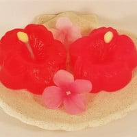 Hibiscus flower soap, glycerin soap, tropical soap, soap gift, birthday soap, kid soap, soap for her, wedding soap, hawaiian soap,