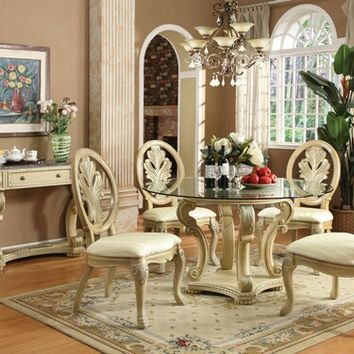 A.M.B. Furniture & Design :: Dining room furniture :: Dining table sets :: White Wash Finish :: 5 pc Coronado collection white wash finish wood round glass top 4 leg pedestal dining table set with fabric upholstered chairs with decorative carved backs