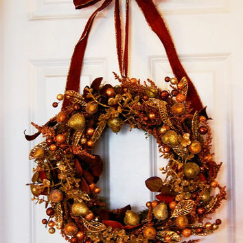 Glamorous Holiday Wreath, Winter Holiday Wreath, Gold Bronze Fall Wreath, Christmas Wreath, Front Door Wreath