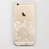 Paisley Pattern iPhone 6 Cover Cell Phone Case Plastic Hard Snap On Henna Style White Print on Clear Transparent Apple Accessory Floral