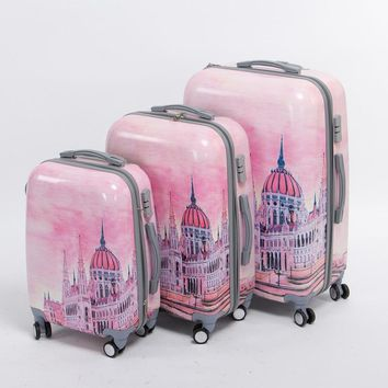 Girl pink pc hardside Palace trolley luggage set,20 24 28inches(3 pieces/set) universal wheel fairy tale travel luggage bags set