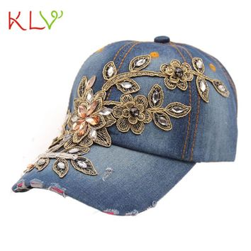 KLV Newly Fashion Vogue Women Diamond Flower Casual Baseball Cap Preppy Style Lady Jeans Hats Adjustable Snapback Hat 17May 19