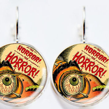 Horror Comic Book Earrings - Eye Widening Horror - Geeky Jewelry