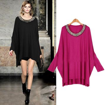 Women's Clothing Spring Batwing Long Sleeve Round Neck Order Bead Dress Fashion Female Sexy A-Line Dress