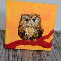 Owl Painting, Wildlife Animal Art, Owl Canvas, Woodland Yellow Brown Bird, Original Small Wall Art, Home Decor, Owl Lover