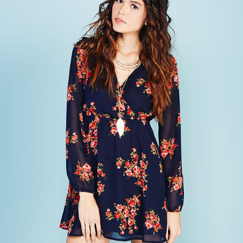 Ethereal Floral Print Surplice Dress | Wet Seal