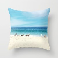 wave watching Throw Pillow by sylviacookphotography