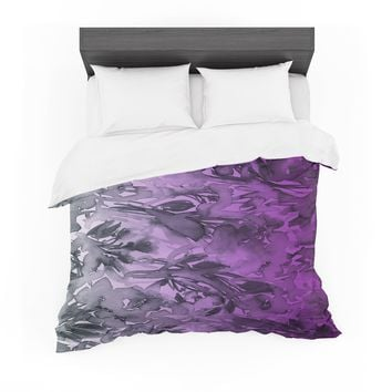 "Ebi Emporium ""Forever Flowers, Purple Ombre"" Purple Gray Watercolor Featherweight Duvet Cover"