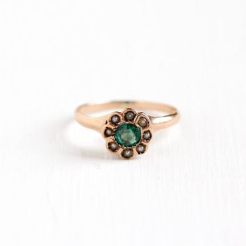 Sale - Antique 10k Rose Gold Demantoid Green Garnet & Seed Pearl Cluster Ring - Vintage Edwardian Green Gem Fine Halo Engagement Jewelry