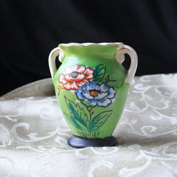 1930s Miniature Green Floral Vase