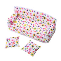 Mini Dollhouse Furniture Flower Cloth Sofa Couch With 2 Full Cushions For Barbie Doll House Toys Hot Selling