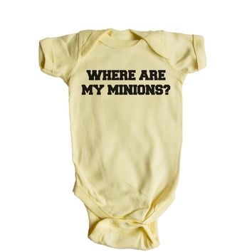 Where Are My Minions? Baby Onesuit