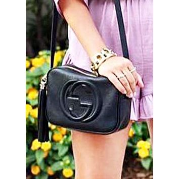 Gucci New Fashion Women Solid Color Leather Crossbody Satchel Tassel Shopping Shoulder Bag